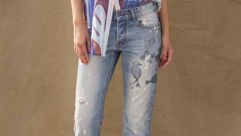 JEANS WITH SILVER BIRDS