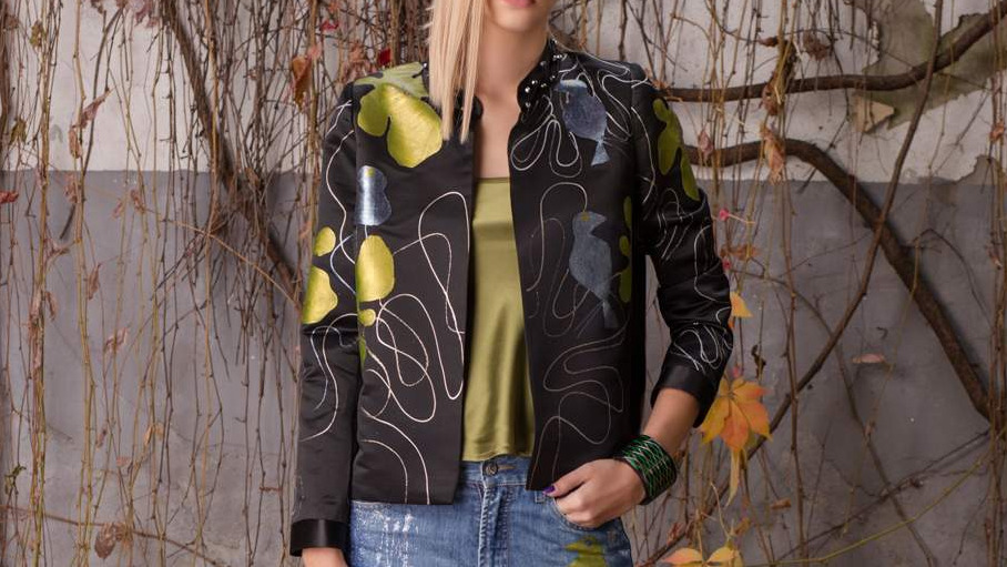 SILK JACKET WITH SILVER BIRDS