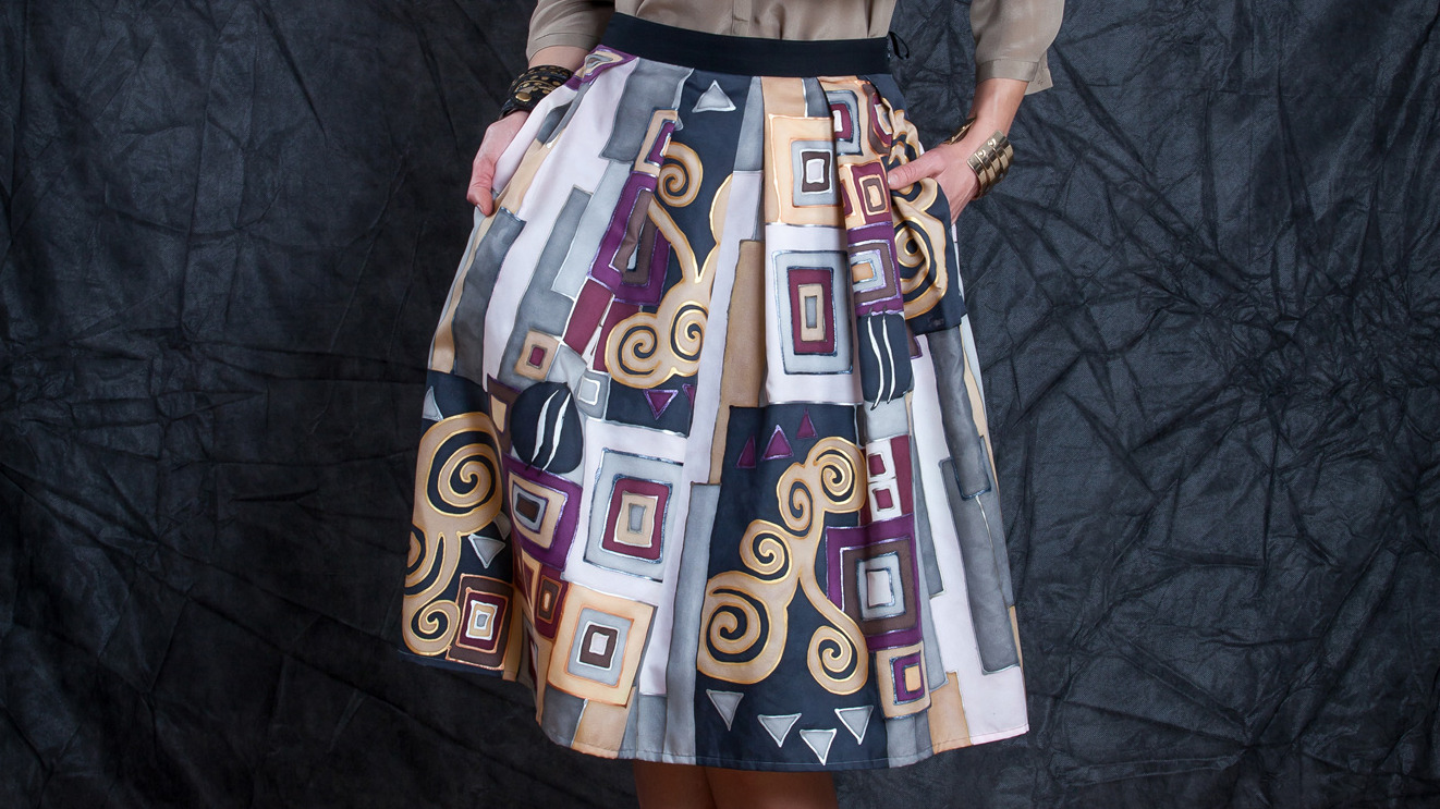 GEOMETRIC SILK SKIRT