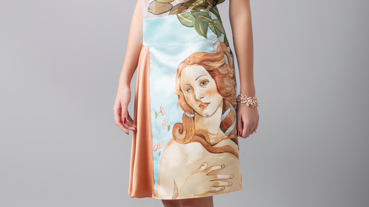 "SKIRT INSPIRED BY ""THE BIRTH OF VENUS"""