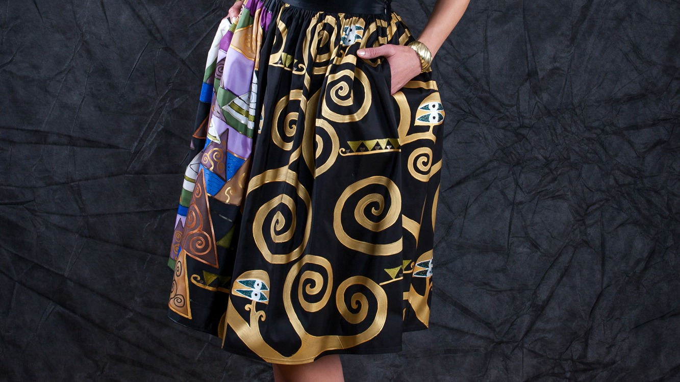 WATER SERPENTS INSPIRED SILK SKIRT